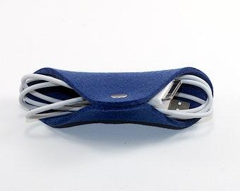Merino Wool Felt iphone Cord Keeper Ear Bud Holder Fabric Keeper Smartphone Cell Phone Cord Organizer