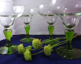 Margarita Glasses Clear Bowl and Lime Green Bulbous Textured   Stems Summer Gift or Entertainment