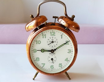 Vintage Copper Alarm Clock German twin bell clock Working desk clock Double bell collectible table clock Peter clock Rustic home decor