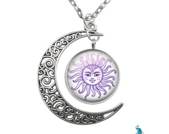 Purple Sun Moon Pendant Filigree Crescent Moon Antique Silver Necklace