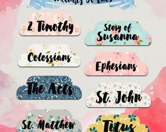 DIGITAL Bible tabs, bible journaling, printable bible tabs, King James bible tabs, bible labels, bible study, bible accessories