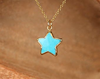 Gemstone star necklace - star necklace - turquoise star necklace - friendship necklace - hippie necklace