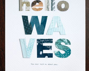 Hello WAVES - DIN A4 (30x21 cm) Collage Print - Wall Art Decor