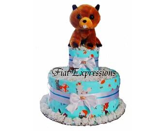 Woodland Beaver 2 Tier Diaper Cake Gift & Centerpiece