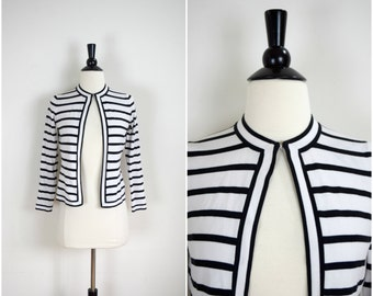 "Vintage stretchy black and white striped knit cardigan / ""Jackie O"" open front stripe sweater jacket"