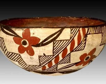 Vintage Zuni Poly Chrome Bowl Ca 19th Century, #1112