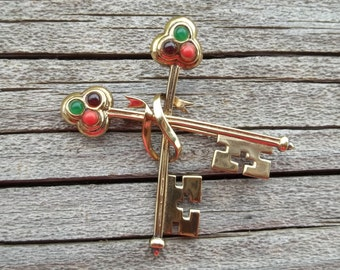 "Vintage 925 Double Key Brooch,Sterling Silver Signed VLC PPC,Red,Purple and Green Stone 2 1/8"" by 1 1/2"" Quality Piece"