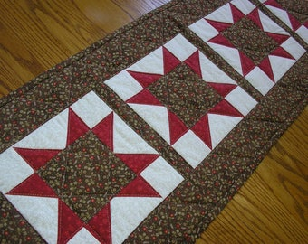 Quilted Table Runner, Stars in Brown and Red,  13 x 38 inches