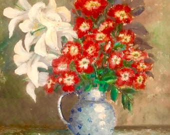 Vase with white lilies and red flowers (antique oil painting)