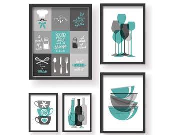 Teal Grey Modern 5 Set Kitchen Decor Prints   Kitchen Wall Art   Kitchen  Prints 5 Set   Kitchen Decor Art   Teal Grey Kitchen Poster 5 Set