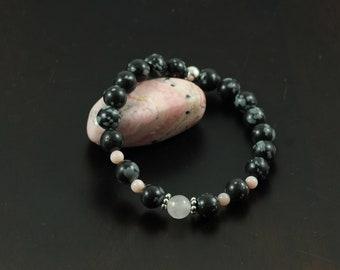 Bracelet * Bracelet * Obsidian * Rose Quartz * Pink opal * Silver * Snowflakes Obsidian * Beads * Gemstone Bracelet *