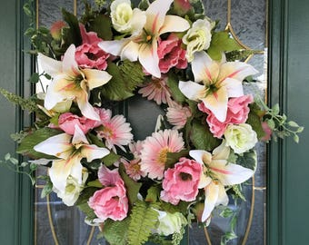 Front Door Wreaths - Spring Wreaths - Spring Wreaths for Front Door - Summer Wreaths - Pink Wreaths - Spring Door Wreaths - Lily Wreaths