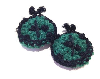 Ladybug Crocheted Nylon Netting Dish Scrubbies- Pair Of Hunter Green