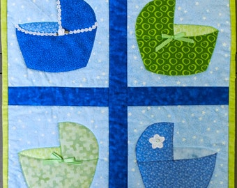 Blue and Green Baby Bassinets Quilted Wall Hanging by Made Marion