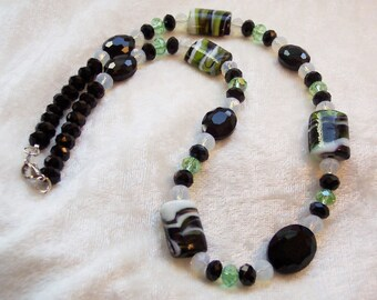 Black Necklace, Green Necklace, Crystal Necklace, Black White Green Glass Crystal Necklace, Chunky Necklace