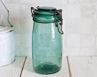 "Authentic ""Solidex"" Vintage French 1L Turquoise Glass Jar    Antique Glass Preserving Jar - Vintage Kitchen Storage"