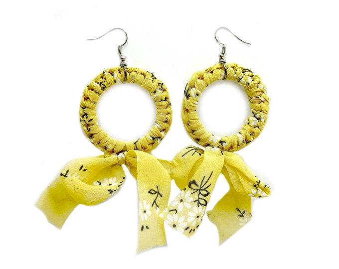 CAROLINE: crocheted yellow ribbon statement earrings
