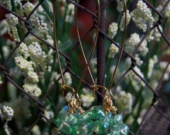 Green acrylic earrings