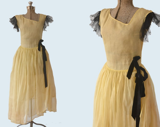 1930s Sheer Yellow Organza and Black Tulle Dress size M
