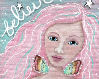 Believe Fairy Giclee Print 10x10 Mixed Media