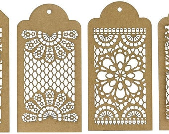 Lace Tags Laser-Cut Chipboard 3.5 x 9""