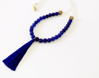 Faceted Sapphire Gemstone Tassel Necklace, Long Tassel Necklace, Gemstone Necklace, Handmade Necklaces, Beaded Necklaces
