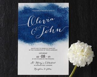 Beautiful Blue Watercolor Splatter Wedding Invitation - IWF16133-TR