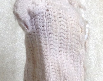 Vintage White Doll Sweater Crocheted