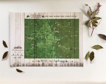 Colorado gifts, Colorado Map, Colorado State Art, State parks, park Checklist, Hiking trails, parks and recreation, Push Pin board, CO map
