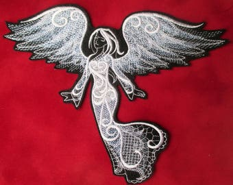 XL Embroidered Stunning White Baroque Angel Applique Patch, Iron On or Sew On, Christmas Patch, Ornate Stitching Swirls, Christmas Decor