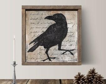 Raven, Black Crow, Folk Art, Crow Art, Black Crow Art, Raven Print, Raven Wall Art, Black Crow Art, Blackbird, Framed Art, Black and White
