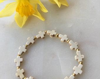 White Cross Stretch Bracelet | Dainty Layering Bracelet