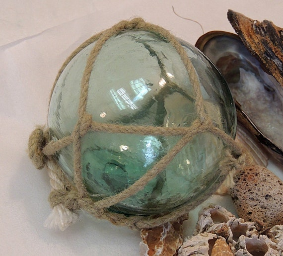 Vintage Japanese Glass FISHING FLOAT Net, Bubbles, Rare Makers Button Seal Mark (#3)
