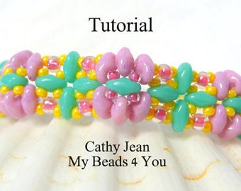Beading Pattern, Jewelry Pattern,Beadweaving Tutorial, Seed Bead Tutorial,Beading Instructions,SuperDuo Tutorial,Seed Beads, Beaded Bracelet