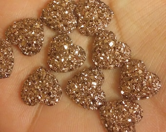 Rose gold 12mm faux druzy flat hearts 10pcs (E6:3-52)