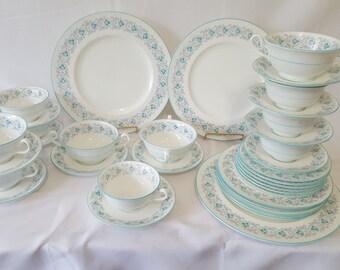 ON SALE, Cauldon China, Cauldon Milton China, Cauldon England, Cauldon Turquoise China, Dinnerware Set, Cauldon China Set, English Plates