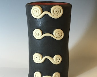 Small Black and Red Vase