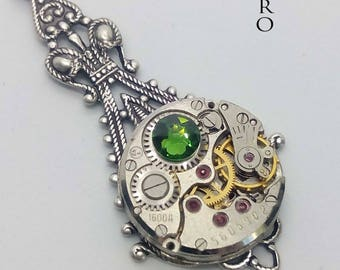 Steampunk Victorian green Necklace - Steampunk Jewelry by Steamretro - Christmas gift - steampunk - steampunk necklace - gothic necklace