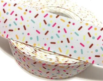 """1"""" Cupcake Sprinkles Ribbon, Candy Sprinkles Ribbon, Sprinkles Grosgrain Ribbon"""