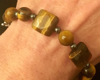 Tiger eye & hematite stacker bracelet