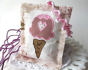 Strawberry Shake- Scented and handpainted Sachet / Ornament