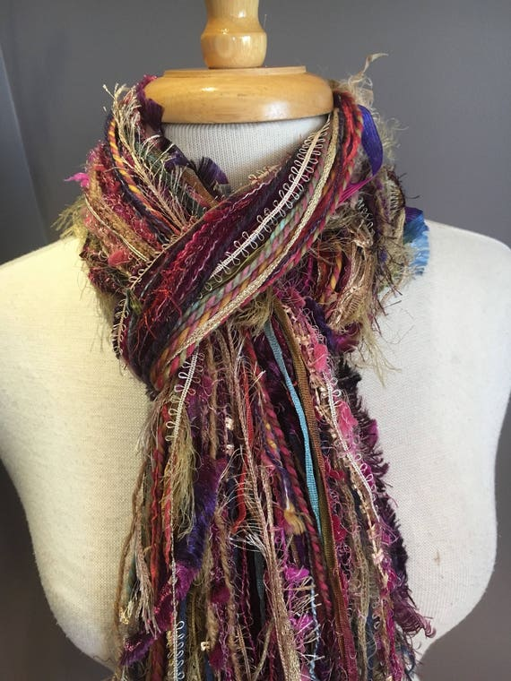 Fringie in Sassify, Fringe Scarf, Handmade hand-tied art fringe scarf in purple pink mustard tan blue, bohemian, long scarf, boho, fashion