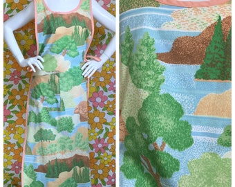 SALE! Nature Print Full Length Apron Dress Vintage Fabric Artist's Smock One Size OOAK