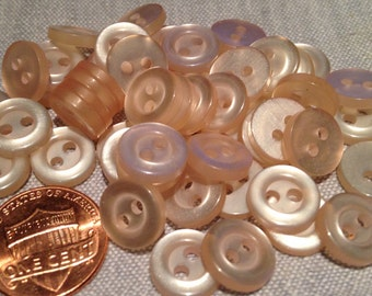 "24 Small Pearlized Pale Peach Pink Plastic Buttons 7/16"" 11mm # 7702"