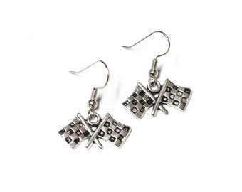 Checkered Flag Race Day Silver Toned Charm Earrings