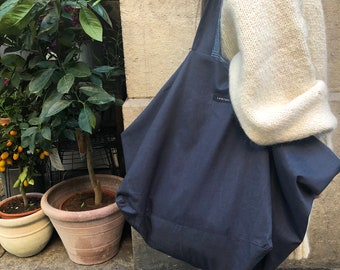 Oversize bag | 100% Linen | Reversible bag | 2 colours | Blue and off-white