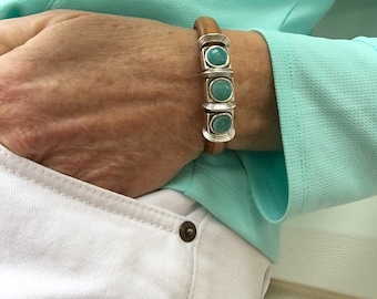 Turquoise Bead Bracelet - Womens Leather Cuff - Leather Bracelet Woman - Gift Women - Natural Bracelet - Funky Jewelry - Spring Gift