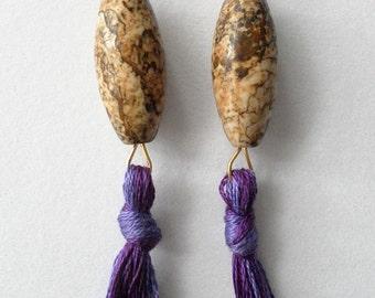 Natural Stone and Purple Tassel Earrings