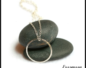 Handmade Simple Hammered Sterling Silver Circle Necklace - O Ring-Day Collar
