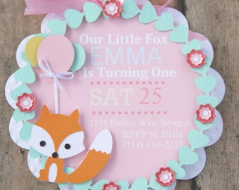 fox first birthday invitation, fox baby shower, woodland first birthday, woodland baby shower invite, shabby chic first birthday party